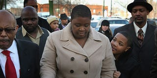 Cleopatra Pendleton, mother of Hadiya Pendleton, at her child's wake (Scott Olson/Getty Images)
