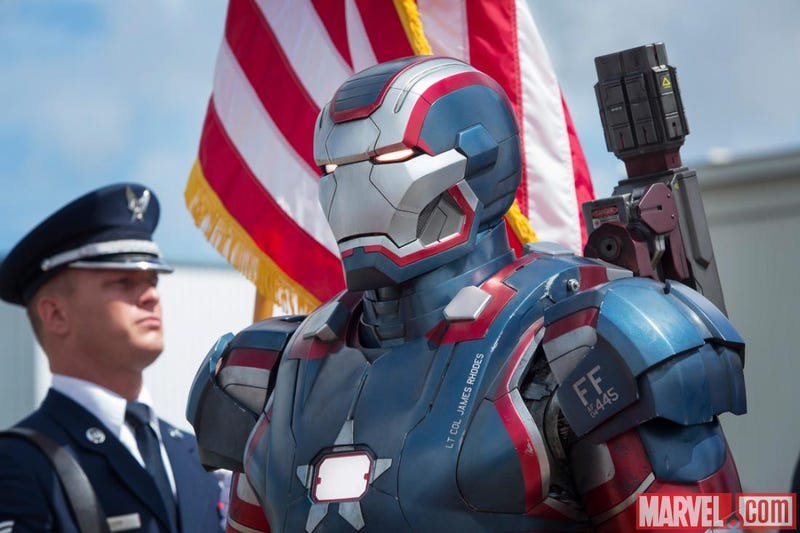Illustration for article titled Official Iron Man 3 images showcase the Iron Patriot, Maya Hansen and Tony's Bad Helmet Day
