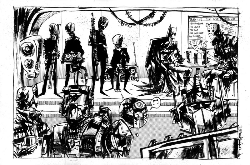 Illustration for article titled Batman, Master Chief, and Optimus Prime walk into a bar in the ultimate scifi crossover