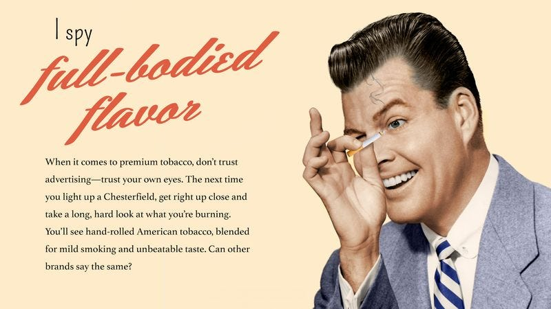 Illustration for article titled How Far We've Come: These Vintage Cigarette Ads Could Never Have Run Today