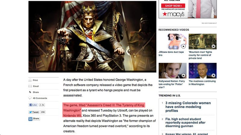 Illustration for article titled Fox News Still Hasn't Fixed The Basic Errors In Its Latest Assassin's Creed Story [UPDATE]