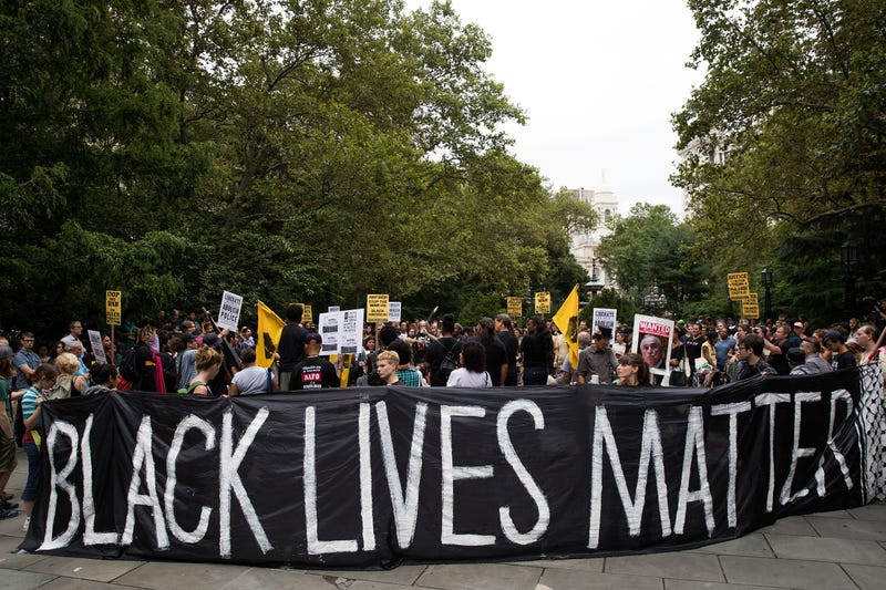 Protesters rally against police brutality at City Hall Park in New York City on Aug. 1, 2016.Drew Angerer/Getty Images