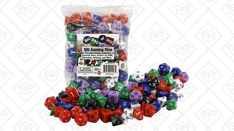 Bag of 100 Gaming Dice, $12