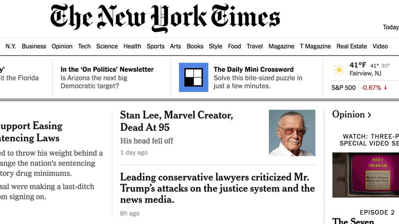 Illustration for article titled Journalism Fail: 'The New York Times' Has Apologized For Its One-Sentence Stan Lee Obituary That Just Said, 'His Head Fell Off'