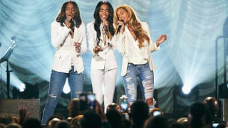 """Michelle Williams Kelly Rowland and Beyoncé perform """"Say Yes"""" during the 30th annual Stellar Awards March 28, 2015,at the Orleans Arena in Las Vegas.Erik Umphery/Getty Images for Parkwood Entertainment"""