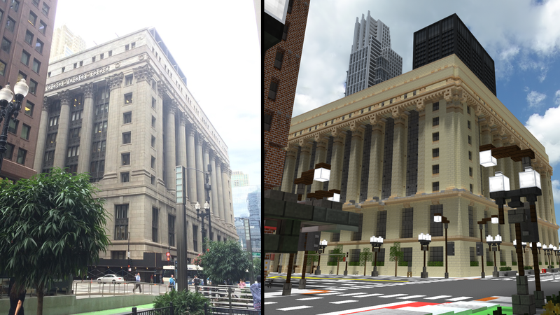 Illustration for article titled Building Chicago In Minecraft