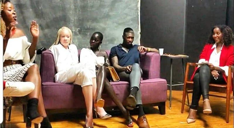 Suzen Baraka, left, Diandra Forrest, Nyakim Gatwech, Yves Mathieu and Karen Francis discuss