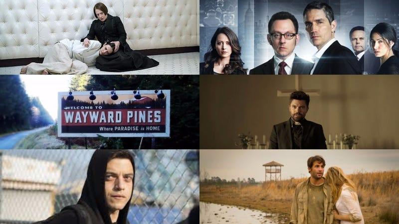 Image: Penny Dreadful, Showtime; Person of Interest, CBS; Wayward Pines, Fox; Preacher, AMX; Mr. Robot, USA; Zoo, CBS
