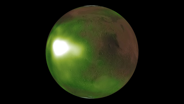 At Night, the Martian Sky Pulses and Glows When Viewed in Ultraviolet Light