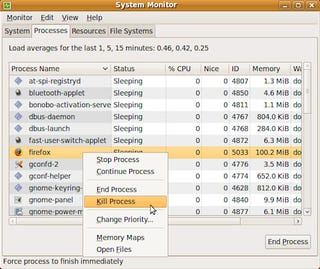 Use System Monitor to Kill Stuck Processes in Linux