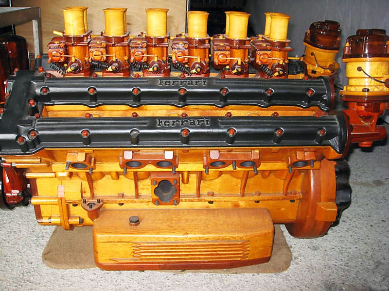 Illustration for article titled Amazing Hand-Built Wooden Ferrari Engine On eBay