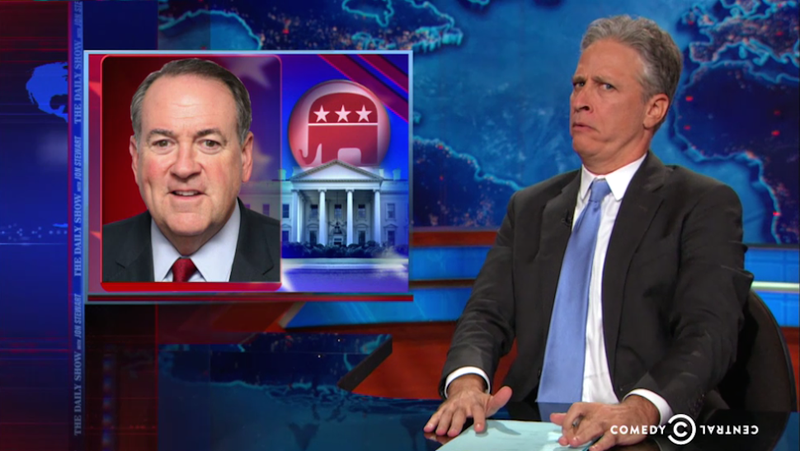 Illustration for article titled Jon Stewart's Wordless Grunting Is Enough to Own Mike Huckabee