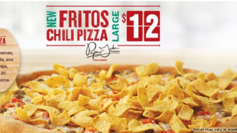 Illustration for article titled Papa John puts Frito chili pie on pizza, is trying his best here
