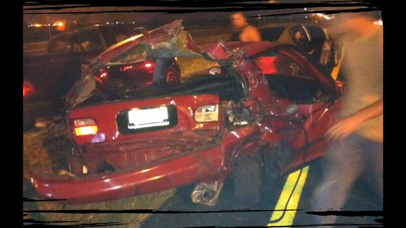 Illustration for article titled How Was No One Killed In This Insane Street Racing Crash?