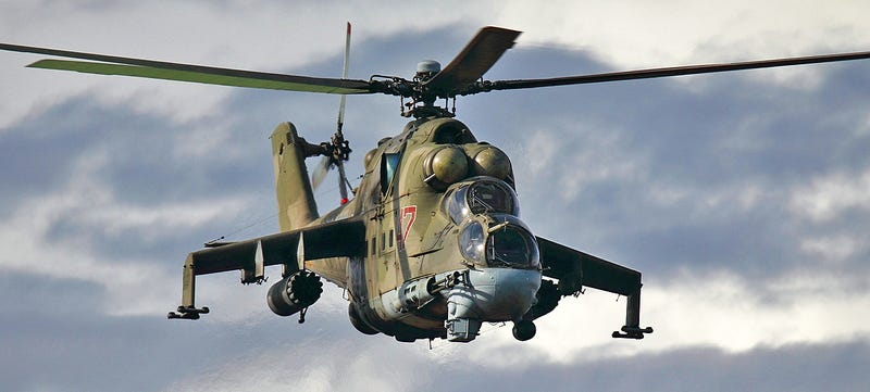 Illustration for article titled Video Shows Russian Mi-24 Hind Attack Helicopters In Intense Action Over Syria