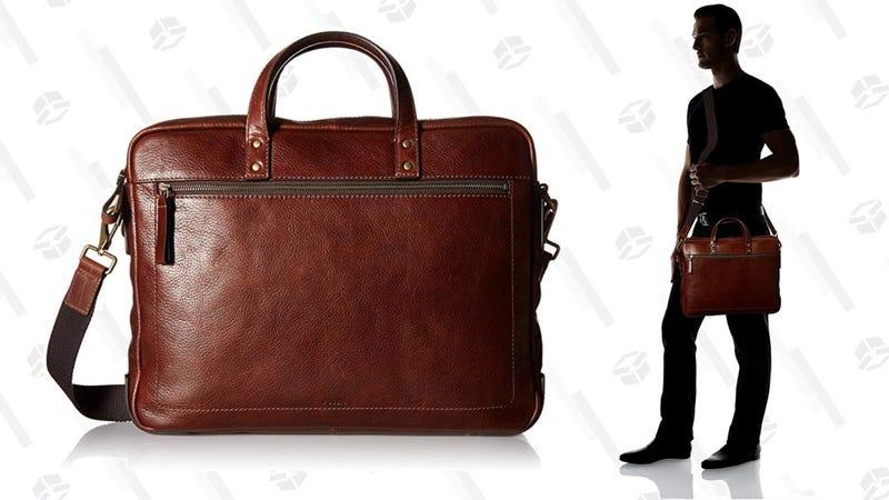 Fossil Mens Haskell Double Zip Workbag Cognac   $230   Amazon