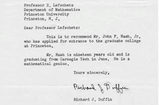 Illustration for article titled John Nash elég menő ajánlólevelet kapott a Princeton Egyetemre