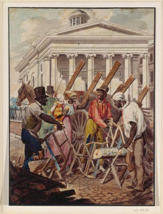 Black Sawyers Working in Front of the Bank of Pennsylvania, Philadelphia, circa 1811-13, attributed to John Lewis Krimmel. Watercolor, 9 1/8 by 6 3/4 inches.The Metropolitan Museum of Art, New York