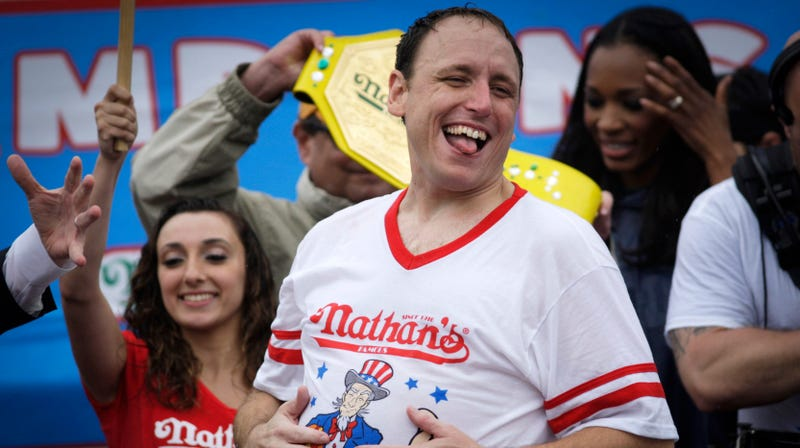 Illustration for article titled Last Call: Joey Chestnut aims to eat more than a pound of Wisconsin cheese curds per minute