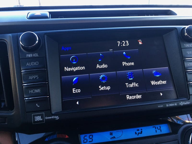 A RAV-4's infotainment system. This is a good way to go about doing an infotainment system, but isn't perfect.