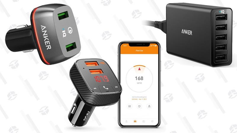 Anker Quick Charge 3.0 Dual Port Car Charger | $12 | AmazonRoav by Anker F2 Car Charger/FM Transmitter/Car Finder | $20 | AmazonAnker PowerPort 5 | $17 | Amazon