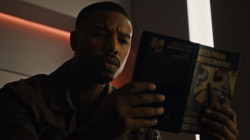 Michael B. Jordan just can't put a good book down in Fahrenheit 451.