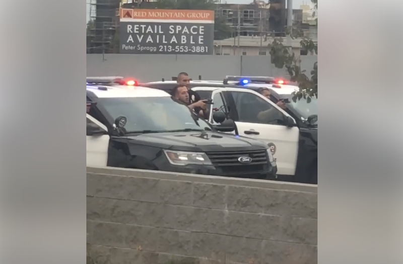 Illustration for article titled Video Shows at Least 5 Cops Aiming Guns at Black Woman With Her Hands Up; LAPD Says She Is a Kidnapping Suspect