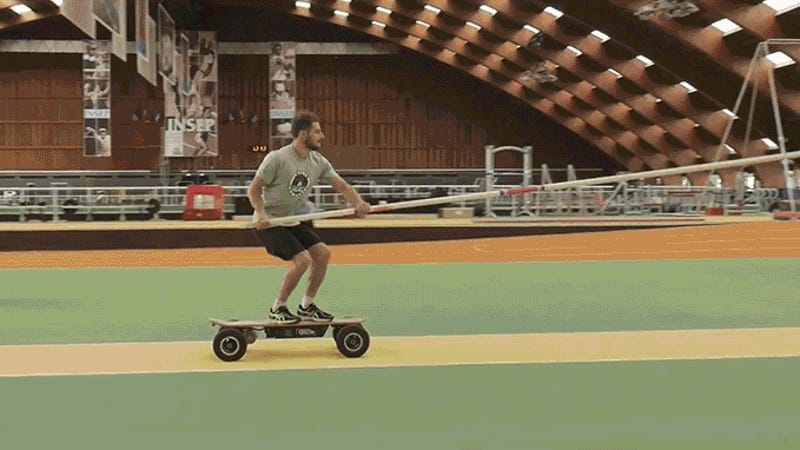 Electric Skateboard PoleVaulting Should Be the Next Olympic Sport