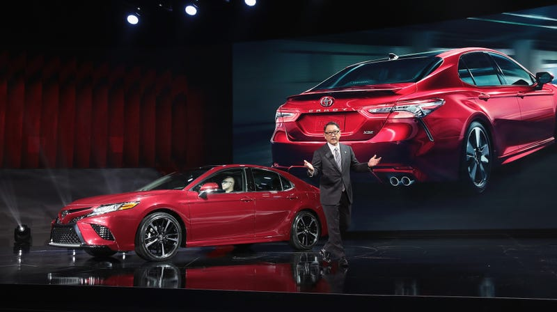 Akio Toyoda presenting the not boring 2018 Toyota Camry in Detroit. Photo credit: Scott Olson/Getty Images