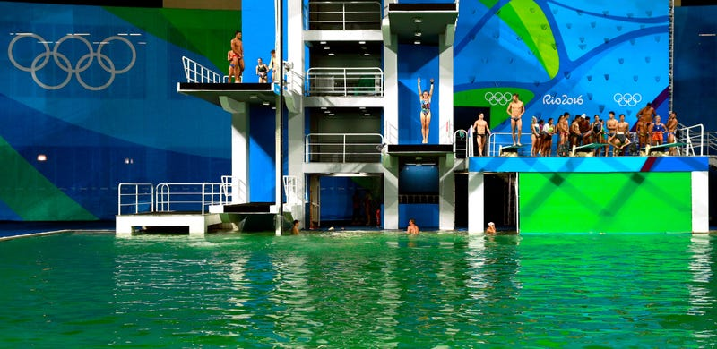 The diving pool on Wednesday. Photo via Adam Pretty/Getty