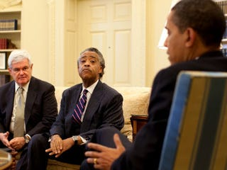 Newt Gingrich meets with Al Sharpton and Barack Obama (Getty Images News)