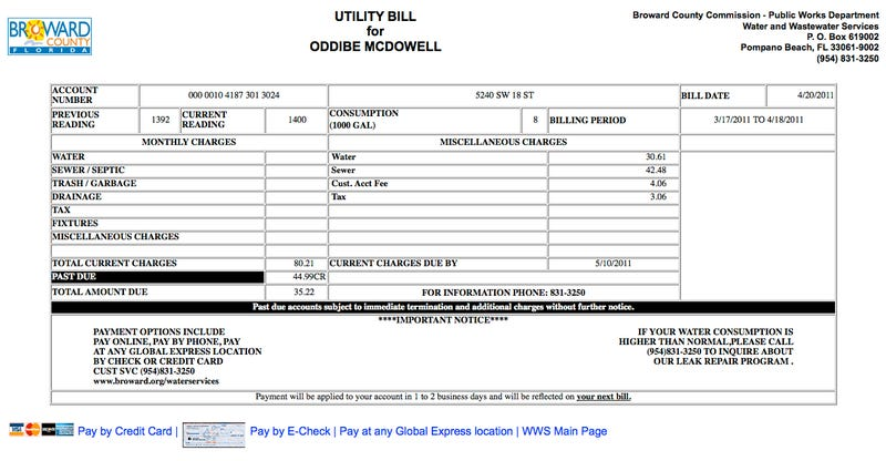 Illustration for article titled Update: Oddibe McDowell's Water Bill Is Now $80.21