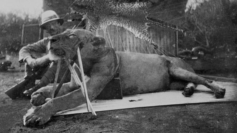 Patterson, junto al primero de los leones de Tsavo abatidos. Foto: Museo Field
