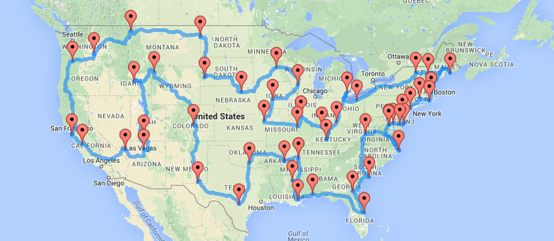 The Ten Best Routes For Driving Across America - Us map of dirt roads from west coast to midwest