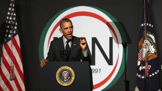 President Barack Obama addresses members of the National Action Network at its 16th annual convention at the Sheraton New York Times Square on April 11, 2014, in New York City.John Moore/Getty Images