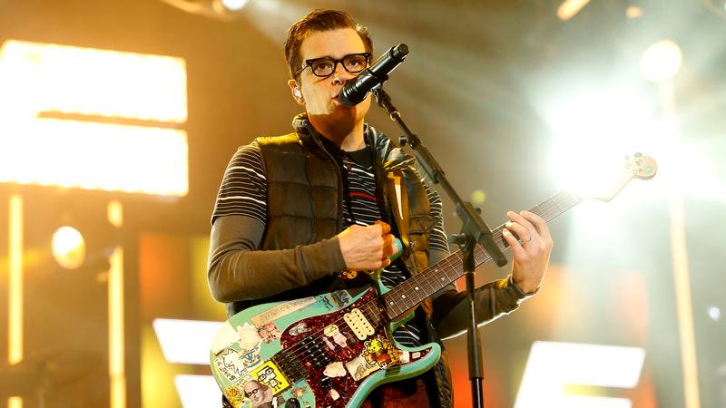 Weezer frontman and enemy of pizza Rivers Cuomo on Jimmy Kimmel Live. (Photo: Getty Images)
