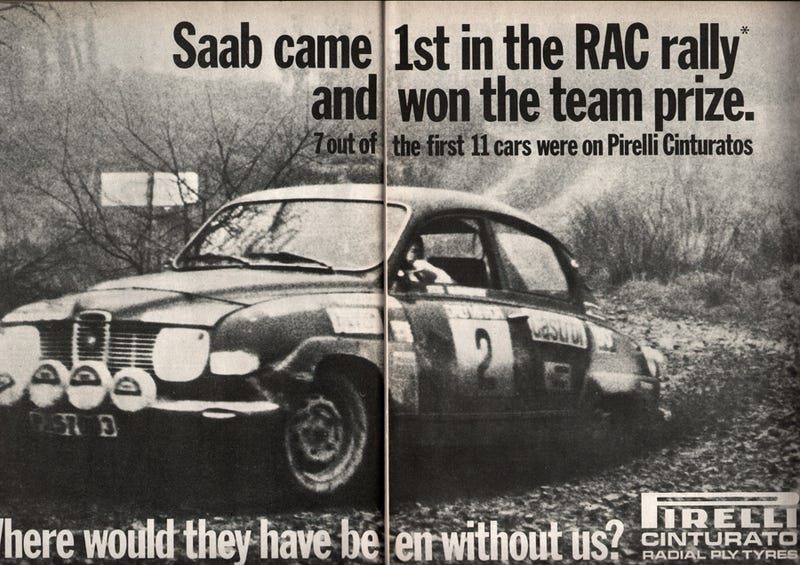 Illustration for article titled 1971, SAAB wins the RAC rally