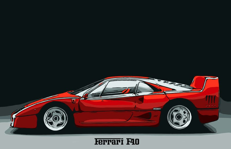 Illustration for article titled Ferrari F40: Form Meets Function - Art By Motor Affair