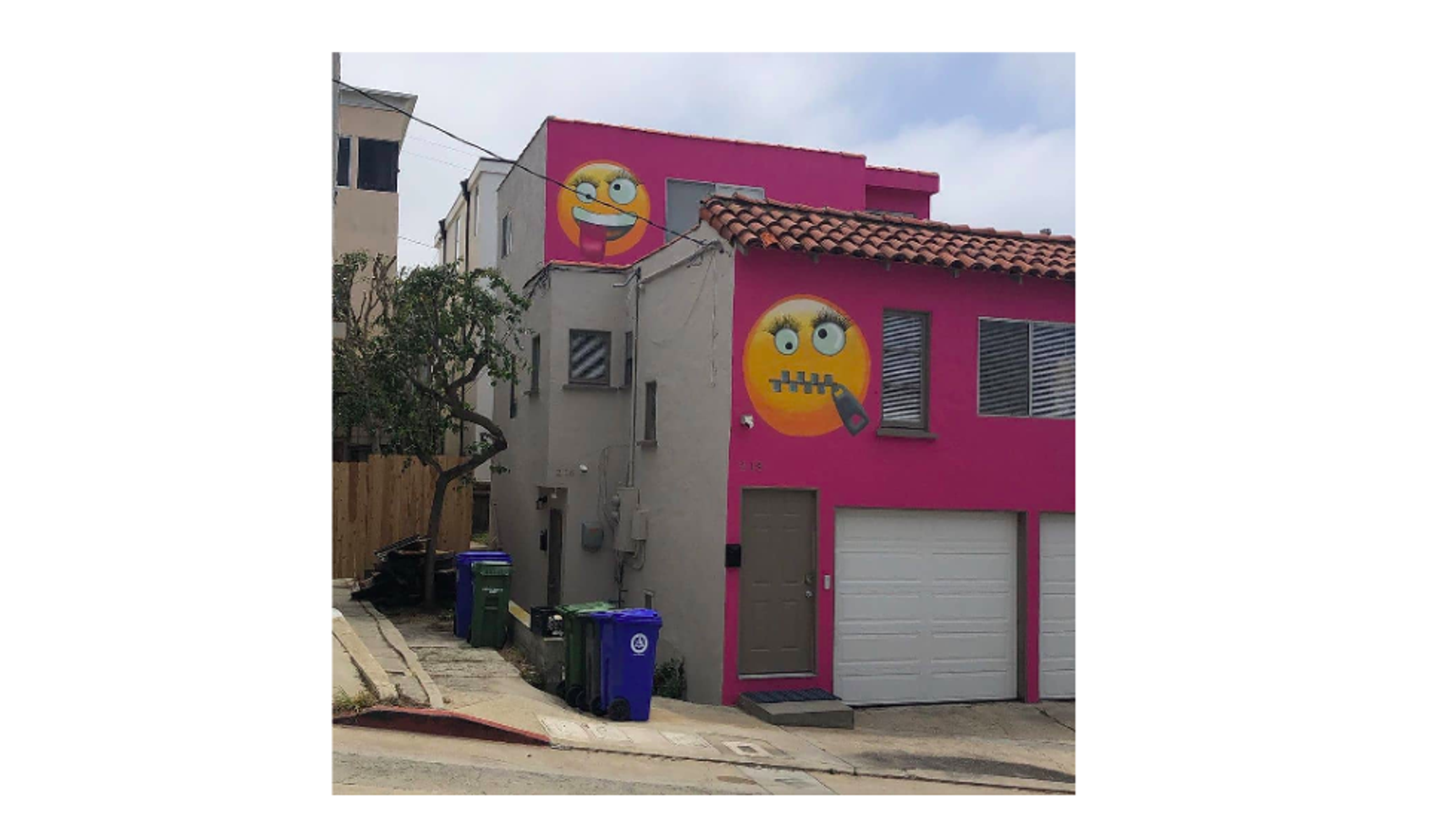 California Woman Spites Neighbor With Hot Pink Emoji House-5544