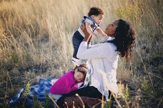 Jennifer Borget with her son and daughterBaby Making Machine