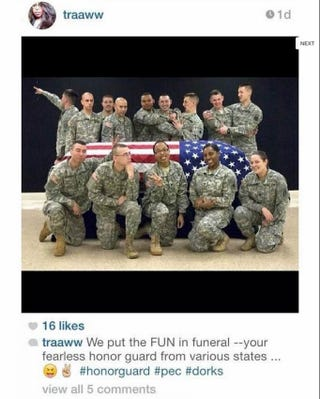 Illustration for article titled National Guard Soldier Gets Death Threats Over 'Fun' Funeral Picture