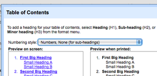 Get a table of contents dictionary and thesaurus in your for Table of contents google docs
