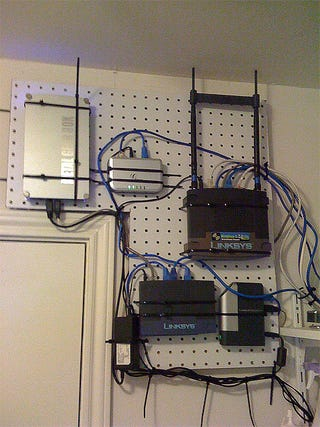 diy pegboard home network wall