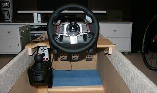 Illustration for article titled DIY Racing Game Cockpit Inside an Ottoman