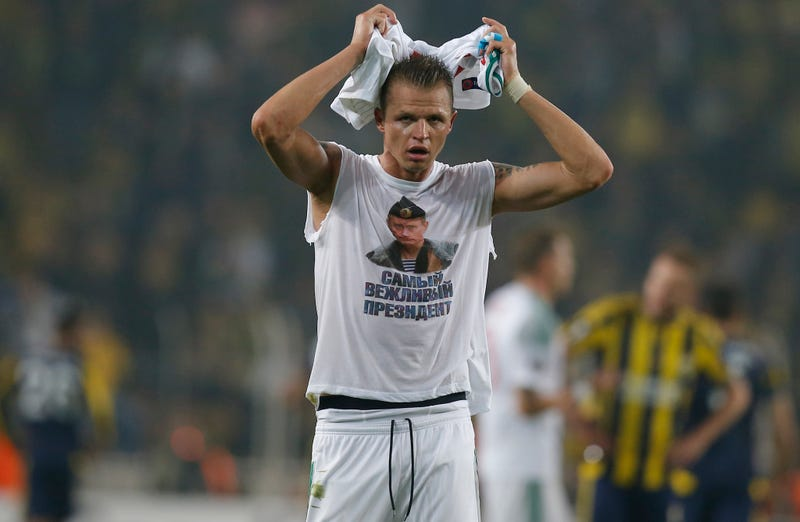 Illustration for article titled Russian Soccer Player Trolls Turkish Opponents With Vladimir Putin Shirt