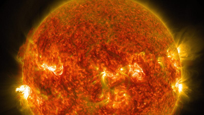 Flares erupting on the Sun in 2014.