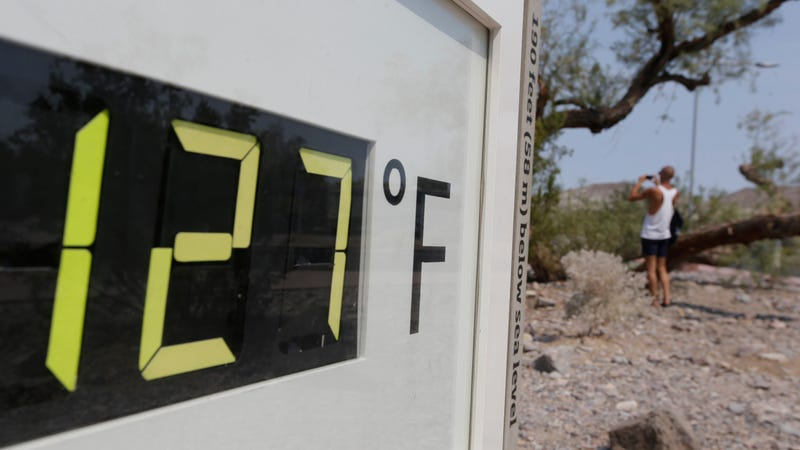 A 2013 photo shows the Furnace Creek Visitor Center thermometer. It reached 127 degrees Fahrenheit four times in July 2018.