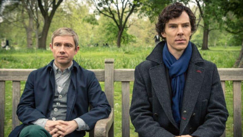 Martin Freeman and Benedict Cumberbatch in Sherlock (Photo: PBS)