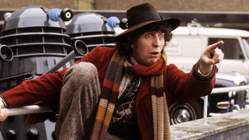 Tom Baker doing what he does best (gawking and pointing) for a photoshoot at BBC Television Centre ahead of his Doctor Who debut.