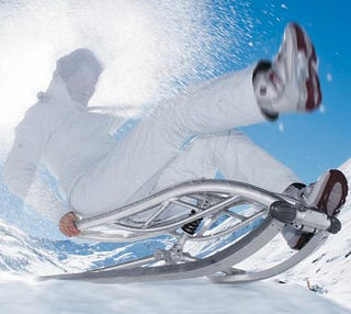 Illustration for article titled Alu Sled Shock-Absorbs Your Butt on Bumpy Downhill Slopes
